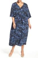 Melissa McCarthy Print Flutter Sleeve Maxi Dress (Plus Size)
