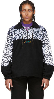 Noon Goons Black and White Leopard Half-Zip Sweatshirt