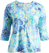 Caribbean Joe Blue Lotus Floral Button-Up Top - Plus