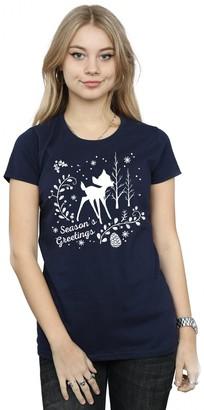 Disney Women's Bambi Christmas Greetings T-Shirt XX-Large Navy Blue
