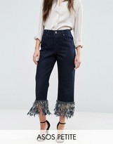 Asos Authentic Straight Leg Jeans in James Wash with Fringe Hem