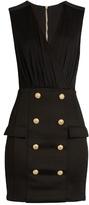 Balmain V-neck button-embellished jersey dress