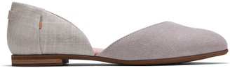 Toms Cloud Grey Suede Crosshatch Linen Women's Julie D'Orsay Flats