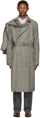 Gucci Grey and Orange Plaid Detachable Scarf Trench Coat