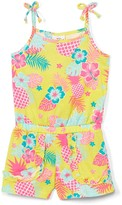 Sweet & Soft Girls' Rompers Yellow - Yellow & Coral Tropical Pineapple Sleeveless Romper - Infant & Toddler