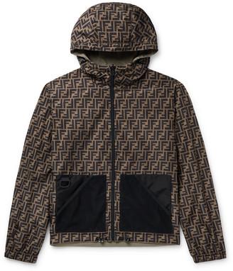 Fendi Reversible Hooded Logo-Print Shell Jacket