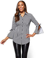 New York & Co. Bell-Sleeve Poplin Tunic - Stripe