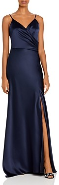 Aqua Ruched Satin Gown - 100% Exclusive