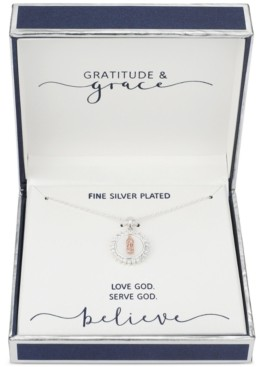 """Unwritten Gratitude & Grace Cubic Zirconia Mother-of-Pearl Inlay Two-Tone Saint Pendant Necklace in Fine Silver-Plate & Rose Gold-Flash, 16"""" + 2"""" extender"""