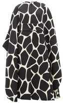 Valentino 1966 Giraffe-print Belted Wool-crepe Cape - Womens - Black White