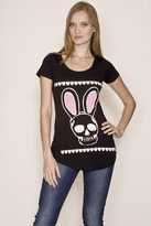 Sauce Skull and Bunny Ears Tunic in Black