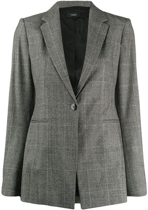 Theory check print single-buttoned blazer