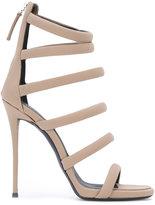 Giuseppe Zanotti Design Chantal stiletto sandals - women - Cotton/Leather/Suede - 35