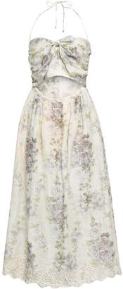 Zimmermann Cutout Broderie Anglaise Cotton Midi Dress