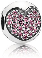 Pandora Pink Pavé Heart Clip - Sterling Silver / Cubic Zirconia