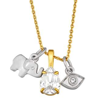 Brilliance+ Brilliance Silver Plated Multi Charm Necklace with Swarovski Crystals