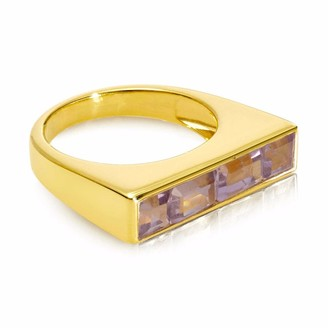 Neola Equilibrium Gold Stacking Ring With Pink Amethyst