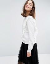 Monki Ruffle Front Sweatshirt