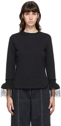 See by Chloe Black Frill Long Sleeve T-Shirt