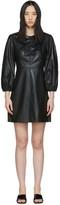 Tibi Black Faux-Leather Structured Mini Dress