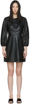 Tibi Black Faux-Leather Structured Mini Dress