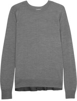 Clu Pleated Satin-trimmed Knitted Sweater - Gray