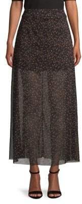 Free People Floral Sheer Midi Skirt