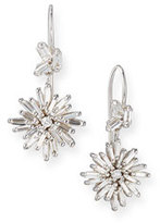 Suzanne Kalan Diamond Baguette Starburst Drop Earrings in 18K White Gold