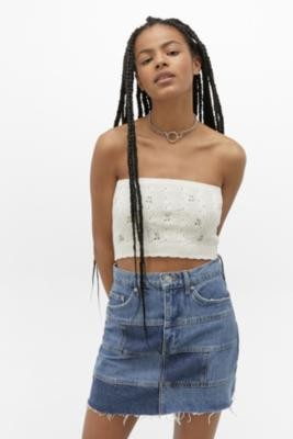Urban Outfitters Embroidered Tube Top - Beige M at