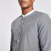 Mens Grey check slim fit grandad shirt
