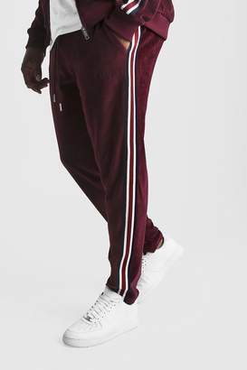 BoohoomanBoohooMAN Mens Red Big & Tall Velour Joggers With Side Tape, Red