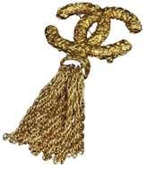 Chanel Gold-Tone Coco Mark CC Logo Fringe Pin Brooch