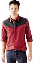 GUESS Men's Long-Sleeve Textured Slub Slim-Fit Shirt
