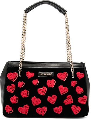 Love Moschino Rectangular Embroidered-Heart Bag