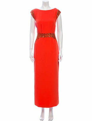 Pamella Pamella Roland Bateau Neckline Long Dress Orange