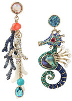 Betsey Johnson Glitter Reef Seahorse Mismatch Earrings