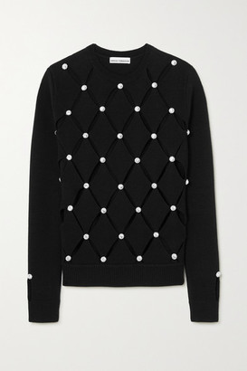 Paco Rabanne Crystal-embellished Cutout Merino Wool Sweater - Black