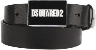 DSQUARED2 Metal Logo Plaque Leather Belt