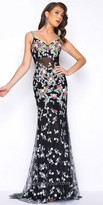 Mac Duggal Scoop Back Floral Beaded Applique Prom Dress