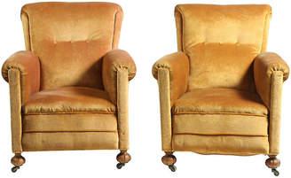One Kings Lane Vintage French Art Deco Velvet Club Chairs Set of 2 - Blink Home Vintique