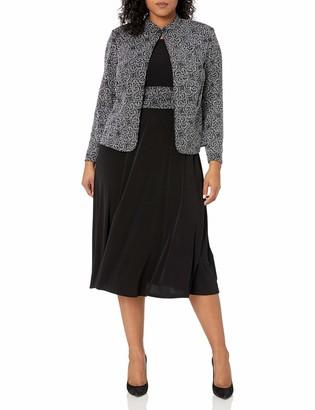 Jessica Howard Women's Size 3/4 Sleeve Mandarin Collar Jacket with Sleeveless Ruched Waist Dress