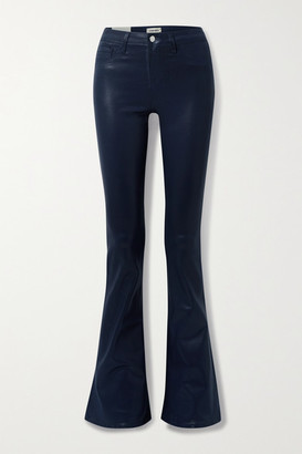 L'Agence Coated High-rise Flared Jeans - Midnight blue