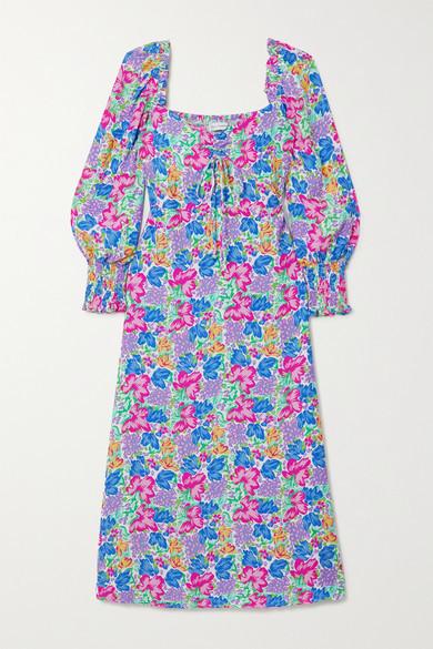 Faithfull The Brand Net Sustain Mathilde Shirred Floral-print Crepe Midi Dress