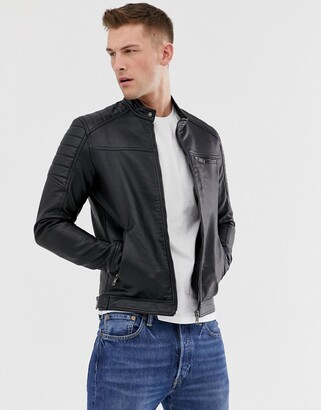 Jack and Jones Core faux leather racer jacket in black