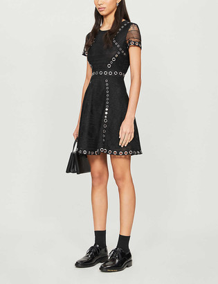 Maje Ranch floral-embroidered woven mini dress