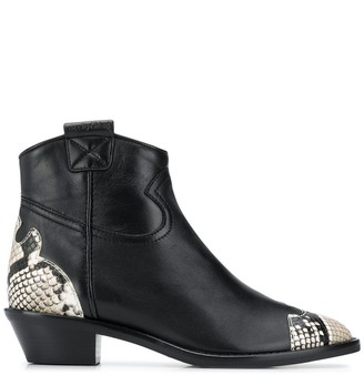 See by Chloe Snake Effect Leather Ankle Boots