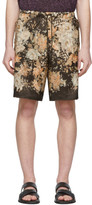 Dries Van Noten Brown and Multicolor Floral Drawstring Shorts