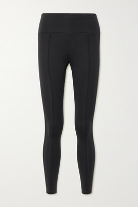 Vaara Elaine Satin-trimmed Stretch Leggings - Black