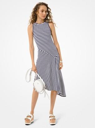 MICHAEL Michael Kors Striped Matte-Jersey Asymmetric Dress