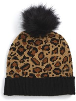 BP Women's Leopard Pompom Beanie - Brown